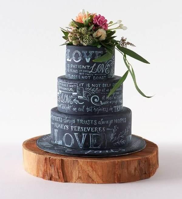 Chalkboard Bolo de Casamento